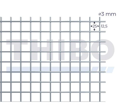 Thibo Mesh panel 3000x1000 mm with mesh 25x25 mm, spot welded from bright wire 3,0 mm