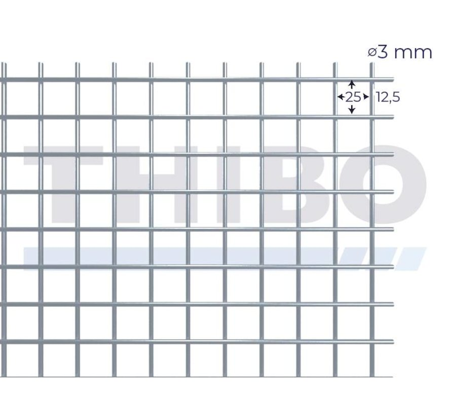 Gaaspaneel 3000x1000 mm met maas 25x25 mm, uit blanke draad 3,0 mm
