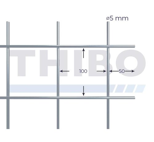 Thibo Mesh panel 3000x1500 mm with mesh 100x100 mm, spot welded from bright wire 5,0 mm
