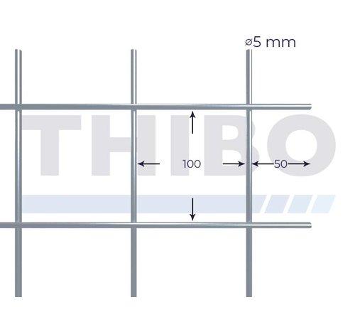 Thibo Stahlmat 3000x1500 mm mit Masche 100x100 mm, gepunktgeschweißt aus blanker Draht 5,0 mm