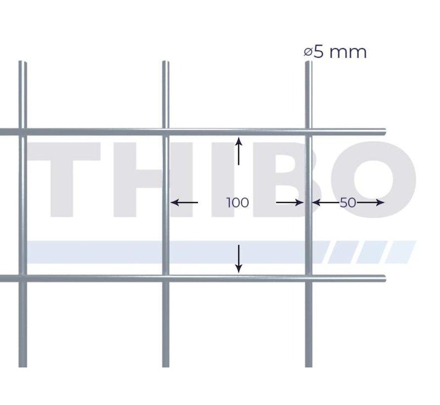 Gaaspaneel 3 x 1,5 meter met maas 100 x 100 mm, uit blanke draad 5,0 mm