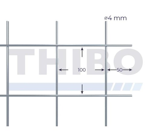 Thibo Mesh panel 3000x1500 mm with mesh 100x100 mm, spot welded from bright wire 4,0 mm