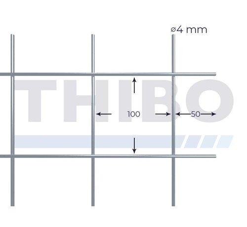 Thibo Stahlmat 3000x1500 mm mit Masche 100x100 mm, gepunktgeschweißt aus blanker Draht 4,0 mm
