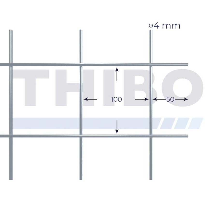 Mesh panel 3000x1500 mm with mesh 100x100 mm, spot welded from bright wire 4,0 mm