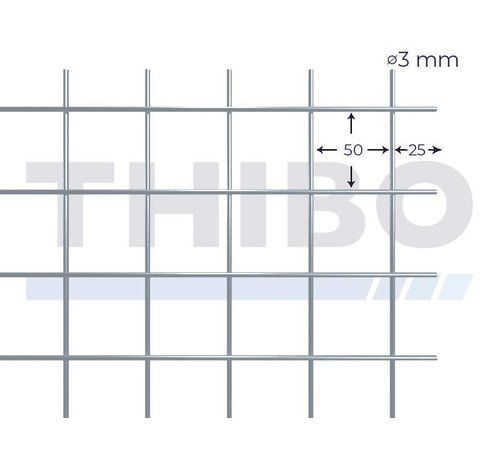 Thibo Mesh panel 3000x2000 mm with mesh 50x50 mm, spot welded from pre-galvanized wire 3,0 mm