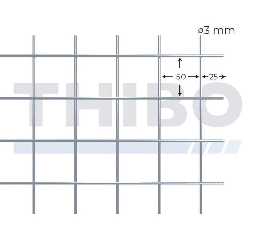 Cementdekvloernet, 3 x 2 meter met maas 50 x 50 mm, uit voorverzinkte draad 3,0 mm