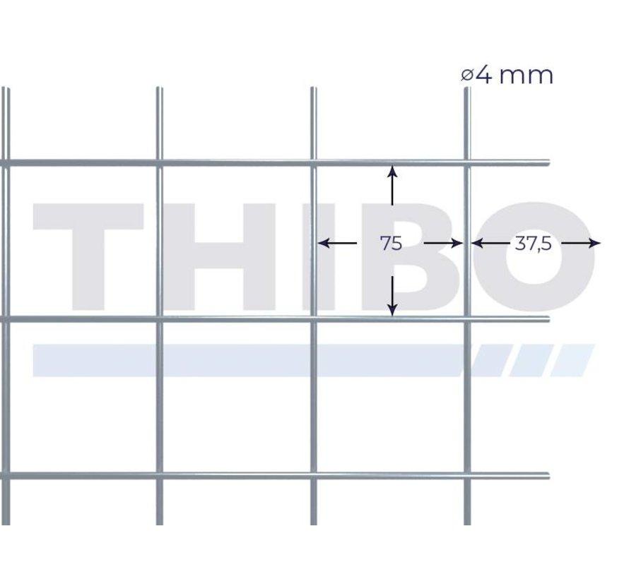 Gaaspaneel 2,1 x 2,1 meter met maas 75 x 75 mm, uit galfandraad 4,0 mm (95% zink, 5% aluminium)