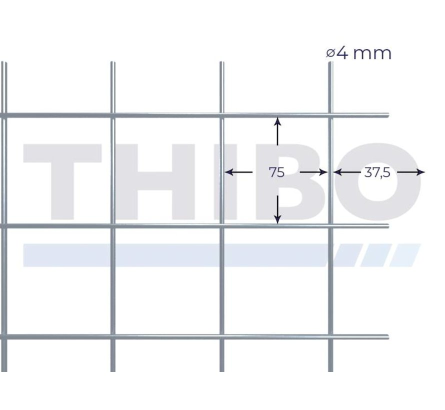 Stahlmat 2100x2100 mm mit Masche 75x75 mm, gepunktgeschweißt aus GalfanDraht 4,0 mm (95% Zink, 5% Aluminium)