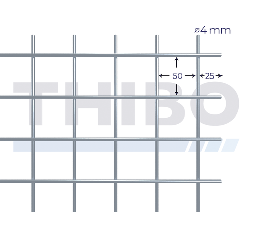 Thibo Mesh panel 2500x2000 mm with mesh 50x50 mm, spot welded from bright wire 4,0 mm
