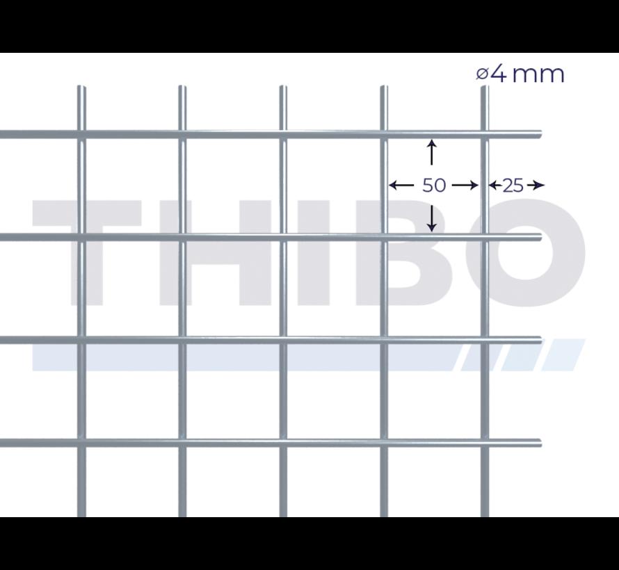 Gaaspaneel 2,5 x 2 meter met maas 50 x 50 mm, uit galfandraad 4,0 mm (95% zink, 5% aluminium)