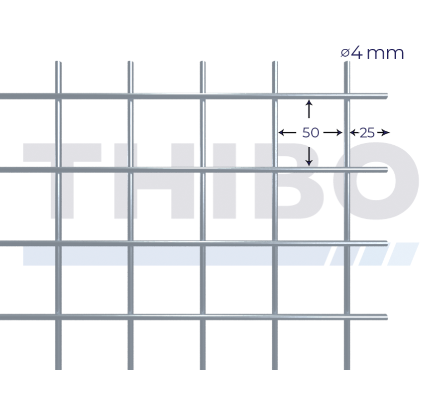 Mesh panel 2000x1000 mm with mesh 50x50 mm, spot welded from RVS 304 wire 4,0 mm