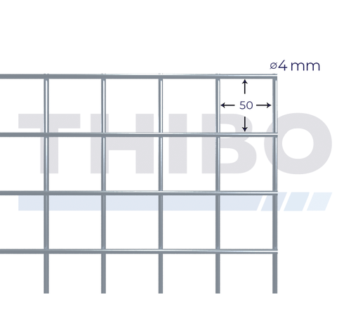 Thibo Mesh panel 2100x2100 mm with mesh 50x50 mm, spot welded from galfanwire 4,0 mm (95% zink, 5% aluminium)