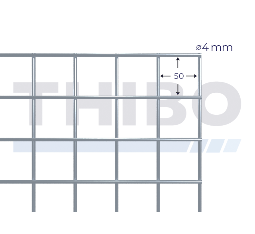 Mesh panel 2100x2100 mm with mesh 50x50 mm, spot welded from galfanwire 4,0 mm (95% zink, 5% aluminium)