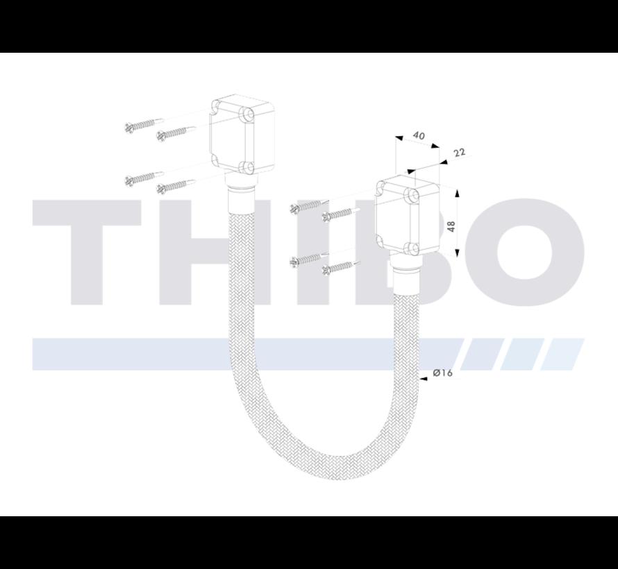 Verstevigde roestvrijstalen, gevlochten doorvoerkabel