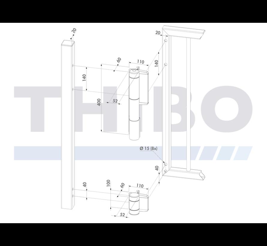 Stijlvolle hydraulische poortsluiter Mammoth - voor zware poorten