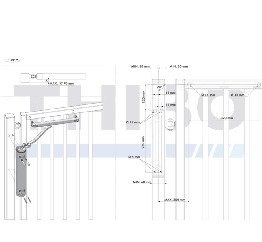 Powerful all-round hydraulic gate closer for 90° and 180° hinges - Verticlose-2