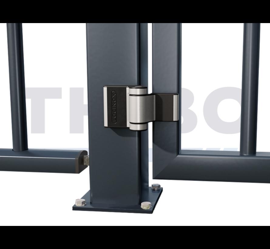 Compact 2-way adjustable 180° surface mounted hinge - Puma