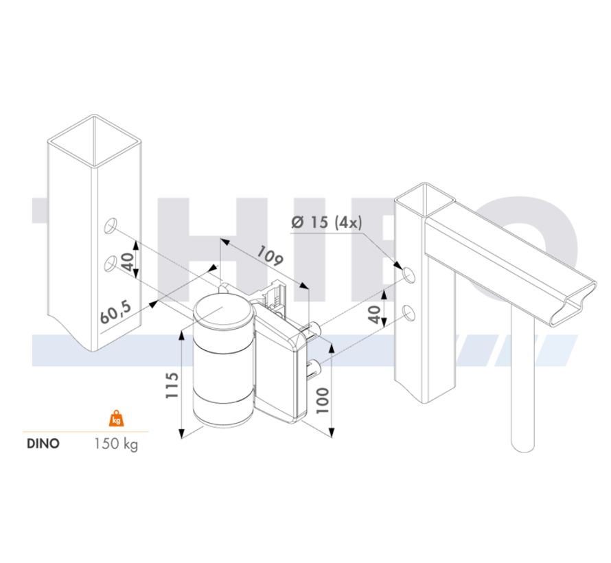 180° double bearing hinge - Dino