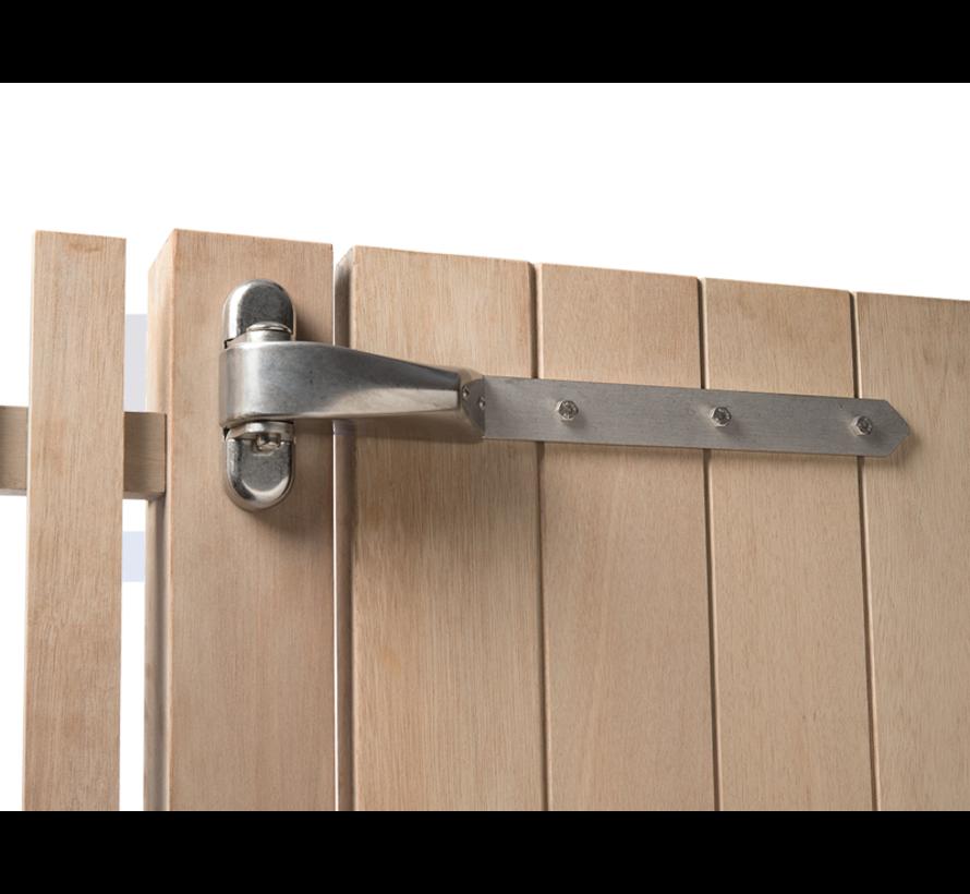 Vandal-proof 4D-hinge for wooden gates