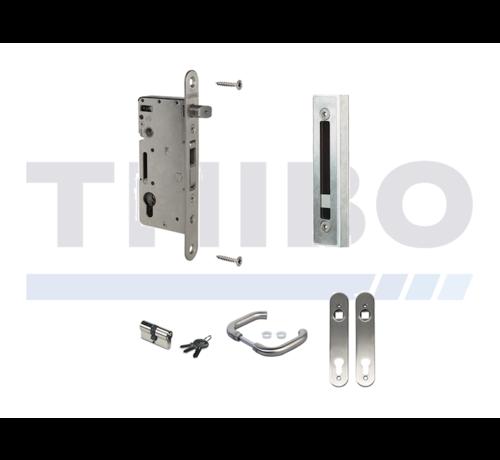 Locinox Kit complet en acier inoxydable avec serrure à encastrer pour portes en bois