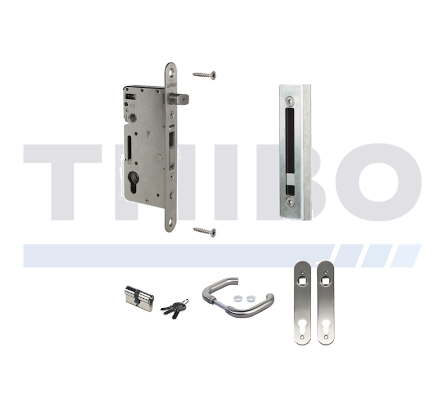 Complete, stainless steel insert lock set for wooden gates