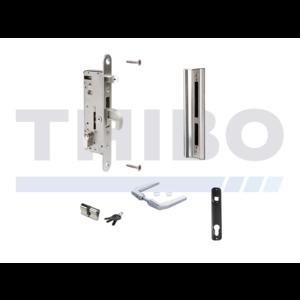 Kit complet en acier inoxydable avec serrure à encastrer pour portes en métal ou en aluminium