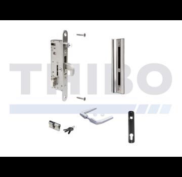 Locinox Komplettes Edelstahlset mit Einsteckschloss für Metall- und Aluminium-Tore