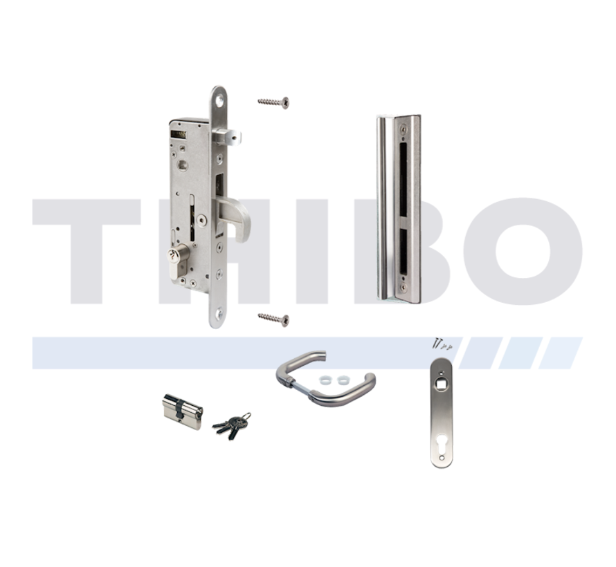 Complete, stainless steel insert lock set for metal and aluminium gates