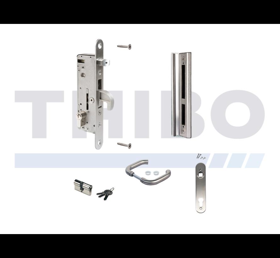 Komplettes Edelstahlset mit Einsteckschloss für Metall- und Aluminium-Tore