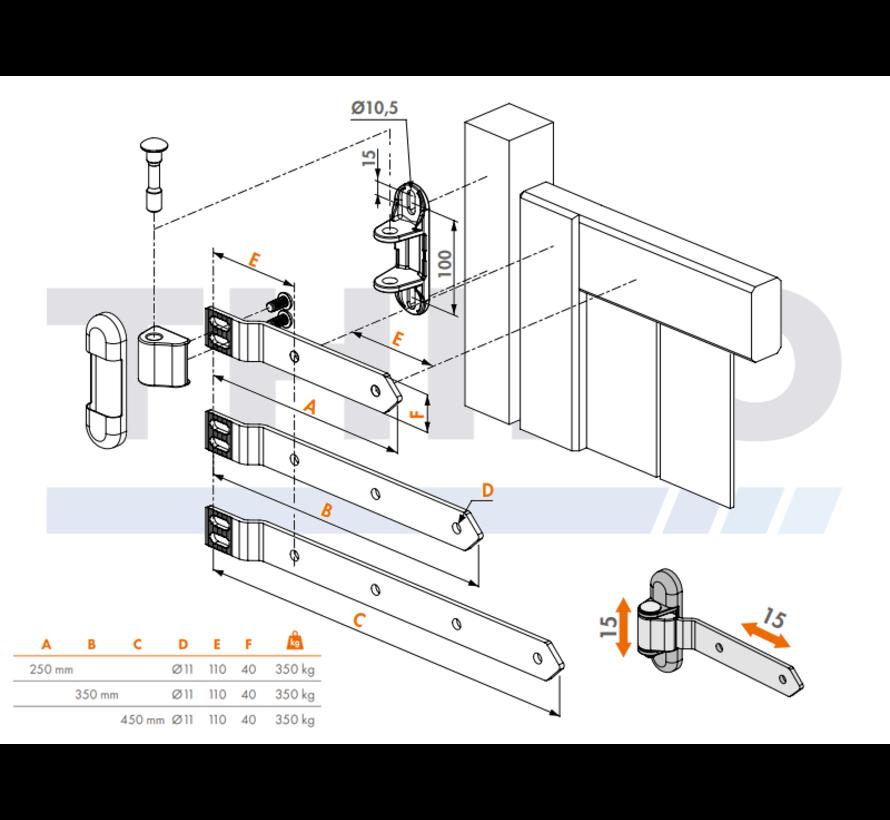 Edelstahl-Torband 3-Fach verstellbar für Holztore