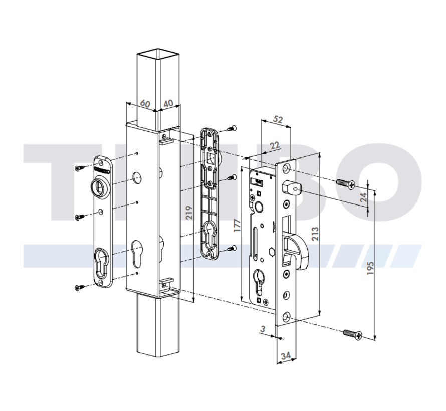 Insert lock for welding box with 35 mm backset