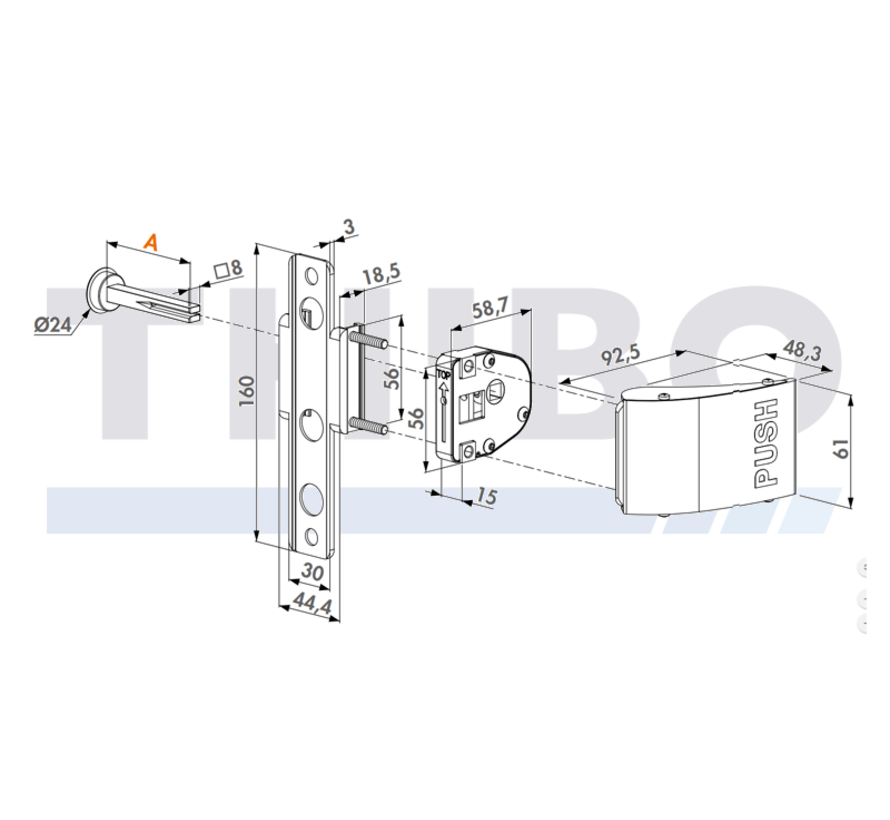 Push handle set in aluminium