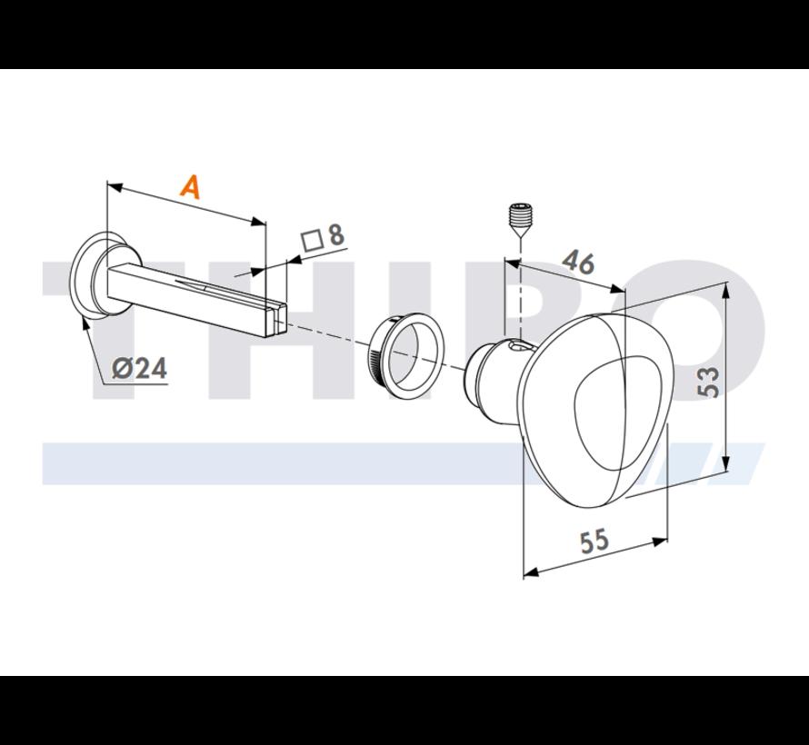 Aluminium bolkruk -  1 zijde blind