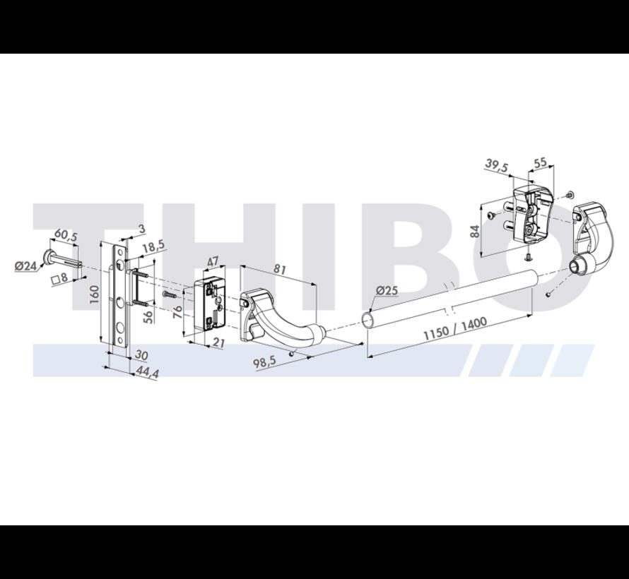 Aluminium push bar