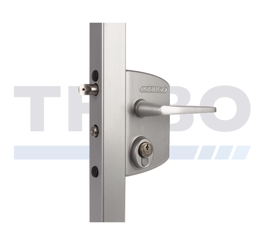 Surface mounted gate lock for Swiss profile cylinder
