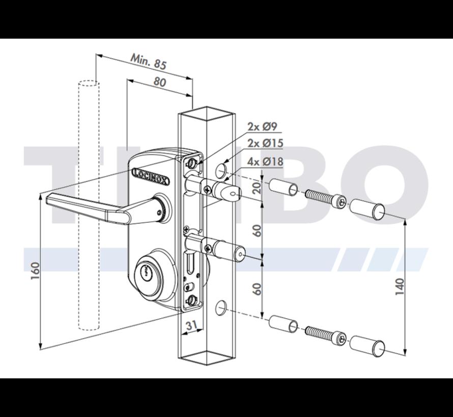 Serrure type industriel pour cylindre rond 1-1/8'