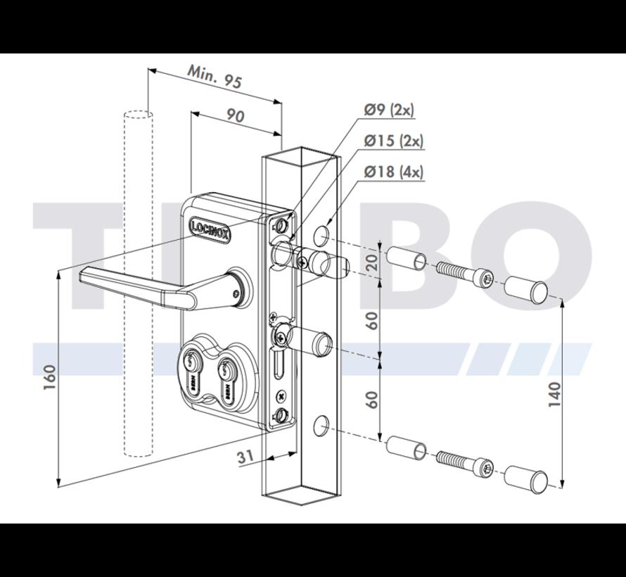 Dubbel cilinderslot opbouw voor draaipoorten