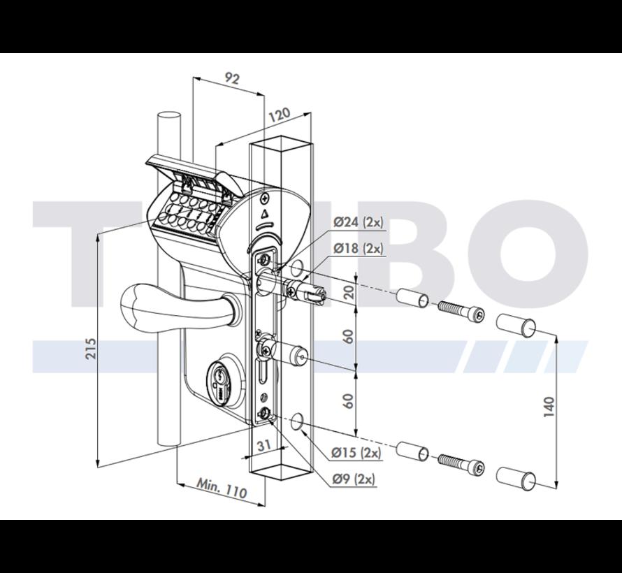 Surface mounted mechanical code lock - Vinci