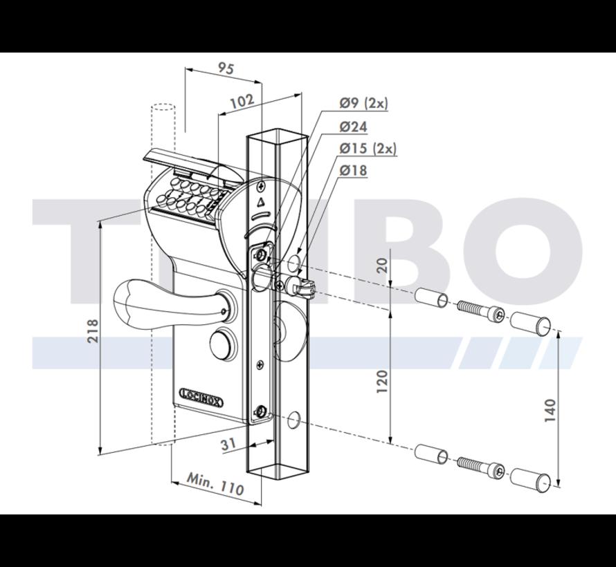 Mechanisch codeslot in opbouw met beveiligde ingang en vrije uitgang - Free Vinci