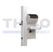 Surface mounted mechanical code lock with secured entrance and free exit - Free Vinci