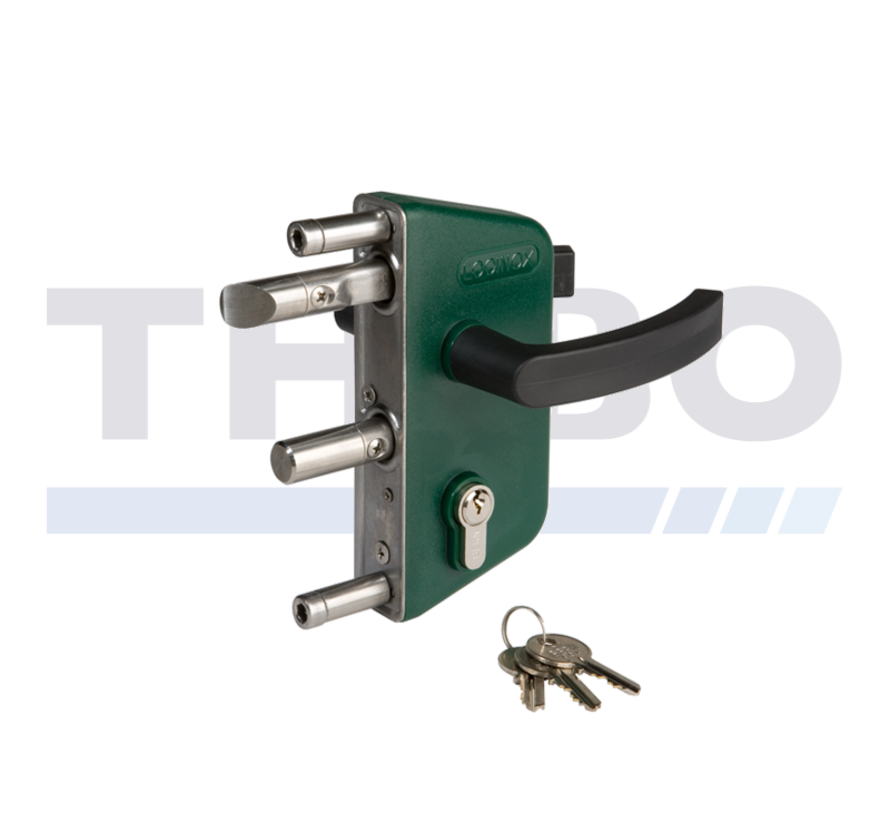 Surface mounted garden gate lock