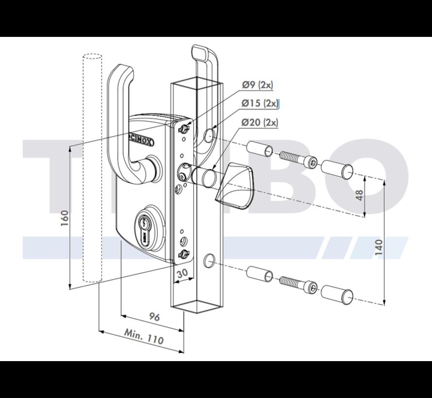 Surface mounted sliding gate lock