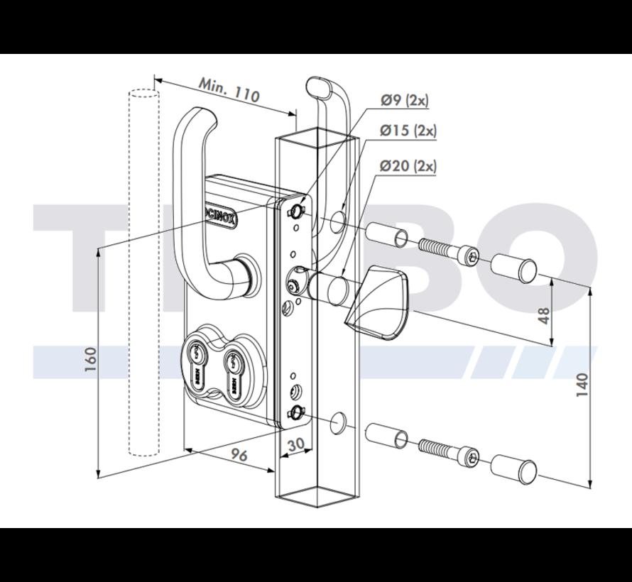 Double Cylinder sliding gate lock
