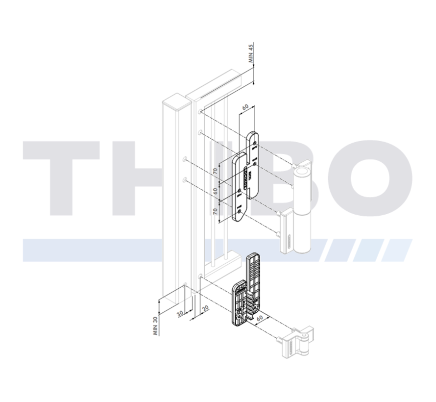 Installation and drilling jig for Tiger gate closer