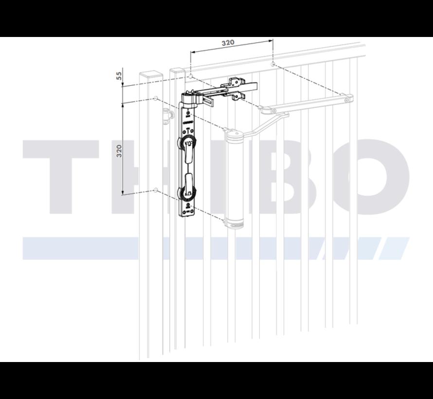 Montage- und Bohrschablone für Lion und Verticlose-2 Torschließer