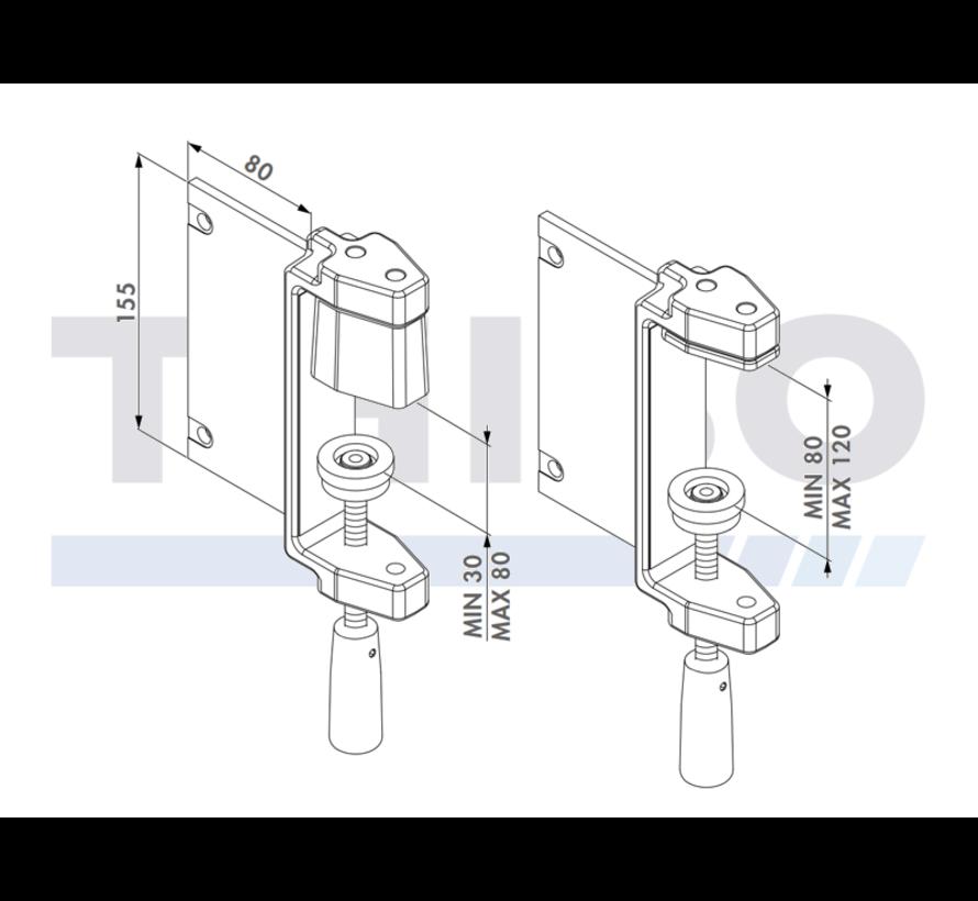 Spanklemset voor positionering van poortkader