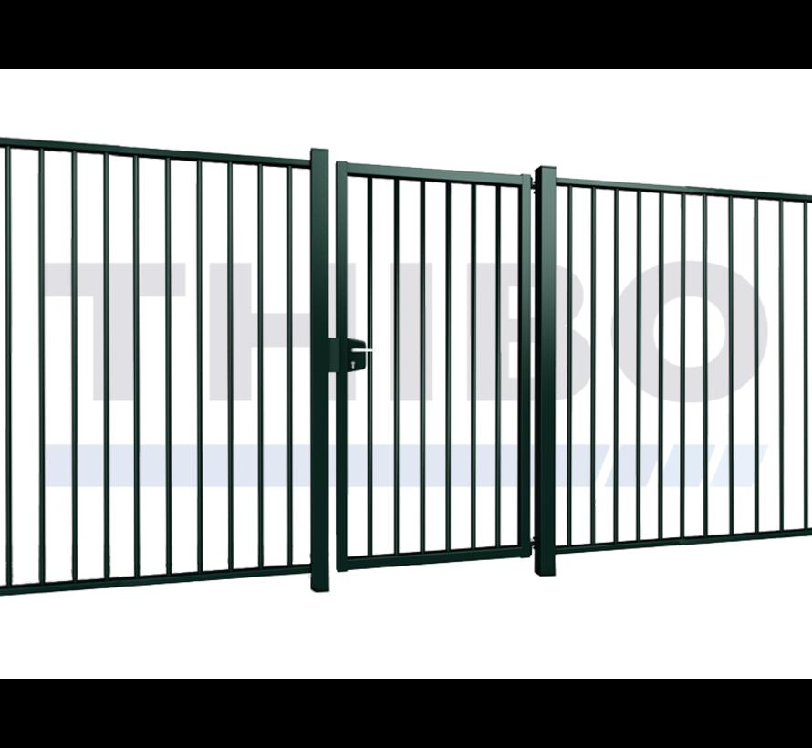 Single Vesta swing gate with round bars