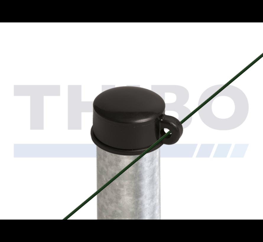 Capuchons en plastique pour poteaux de clôtures ronds - avec oeil de fil