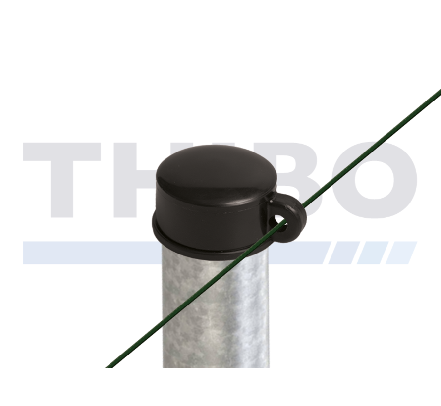 Plastic post capa for round fencing posts - with wire eye