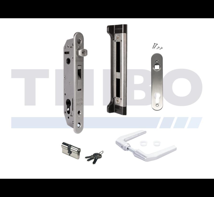 Complete set met insteekslot en slotvanger voor metalen, aluminium en PVC poorten
